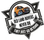 Koolart OLD LAND ROVERS NEVER DIE Slogan For Yellow Land Rover Defender 90 External Vinyl Car Sticker Decal Badge 100x100mm